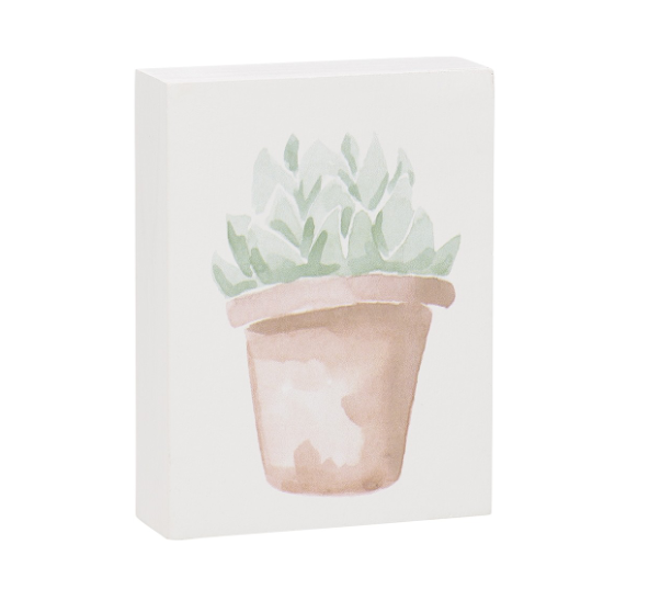 Leafy Succulent Block Sign