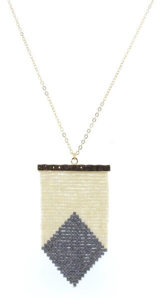 Cream & Grey Beaded Shield Necklace
