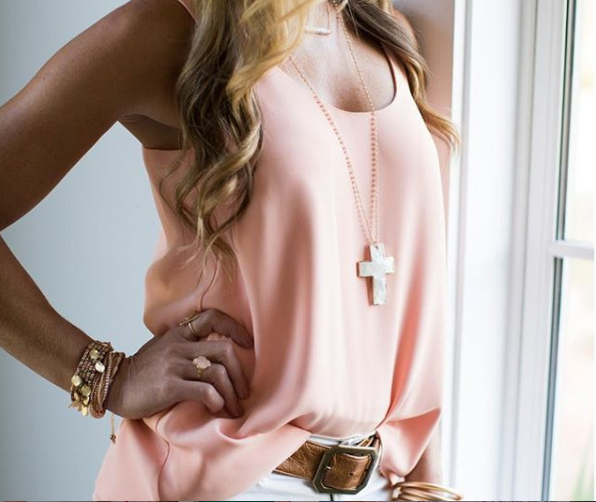 Champagne Necklace with Shell Cross