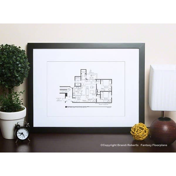 "Fantasy Floorplan 5""x 7"" Friends - Monica and Rachel's Apartment"
