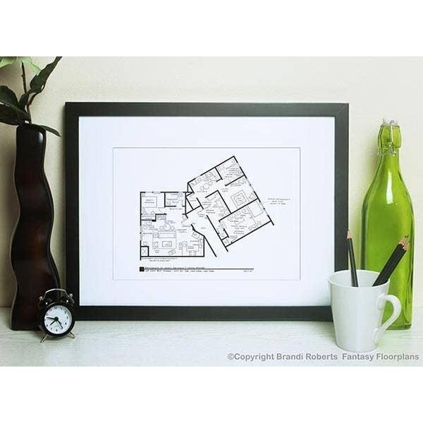 "Fantasy Floorplan 5"" x 7"" Seinfeld and Kramer Apartment"