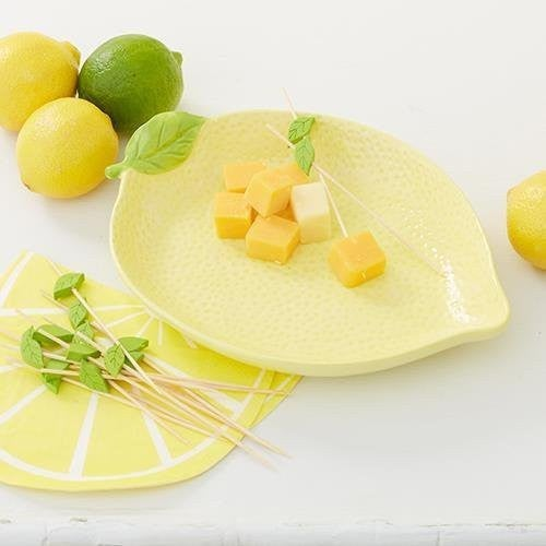 Lemon Dish & Wooden Pick Set