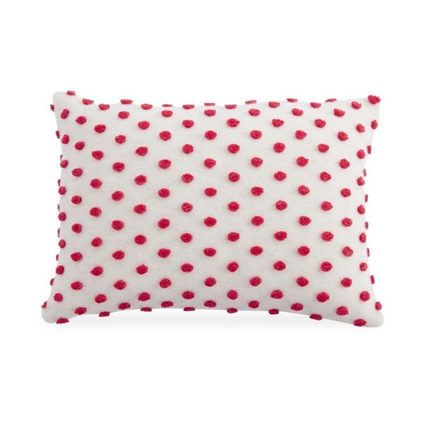 Lumbar White & Red Pom Pom Pillow