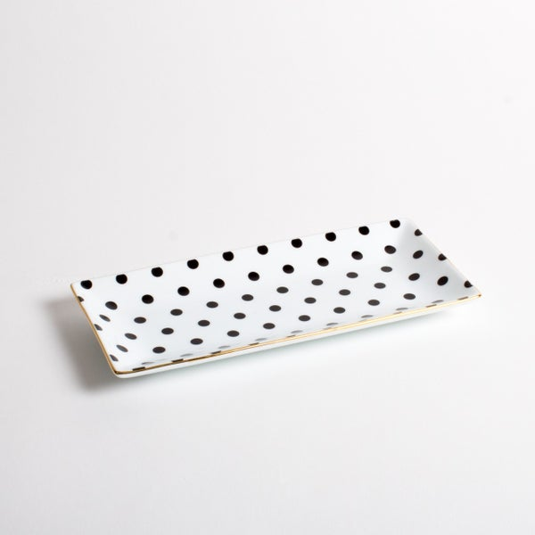 Trinket Tray Black Dot
