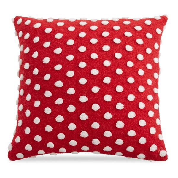 Square Red & White Pom Pom Pillow