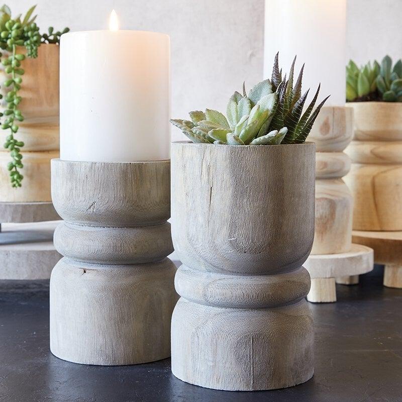 Large Succulent Pillar - Grey