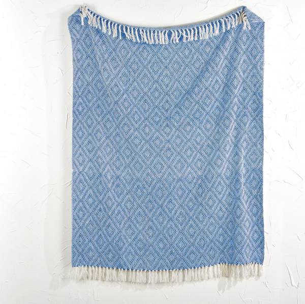 Blue Tassel Throw