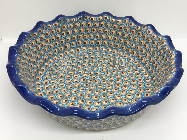 A185 Wavy Pie Plate Turquoise Eye