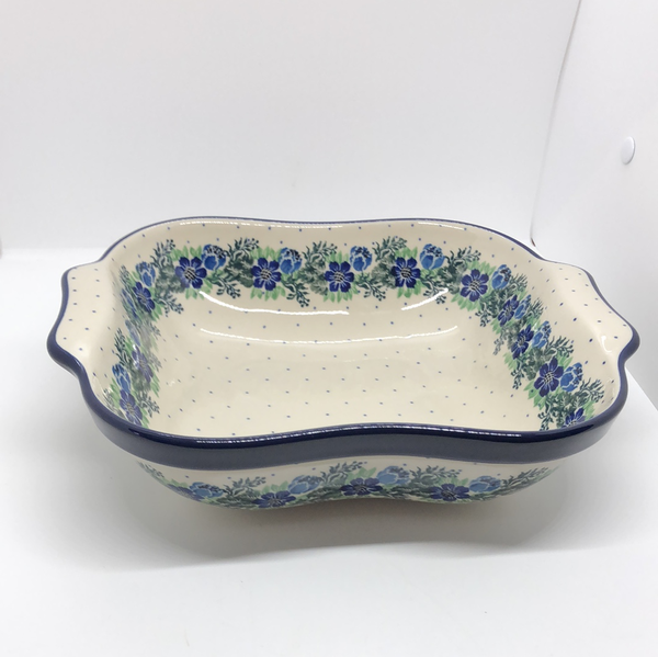 Bowl ~ Square w/ Handles ~ Spring Meadow