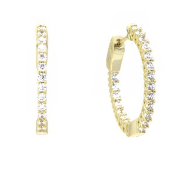 "Gold Cubic Zirconia 1"" Elegant Hoop Earrings *Final Sale*"