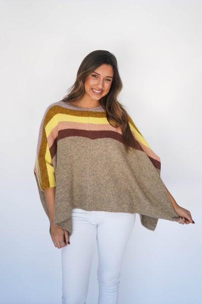 Cali Sunset Oversized Sweater Poncho