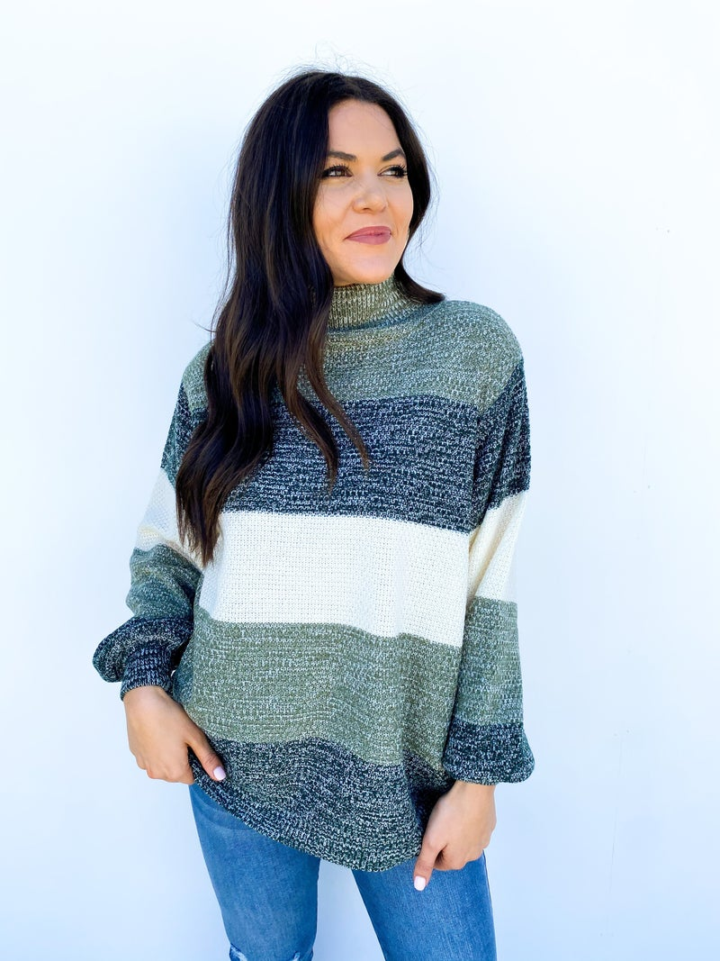 Say Yes To Stripes Sweater - Hunter Green
