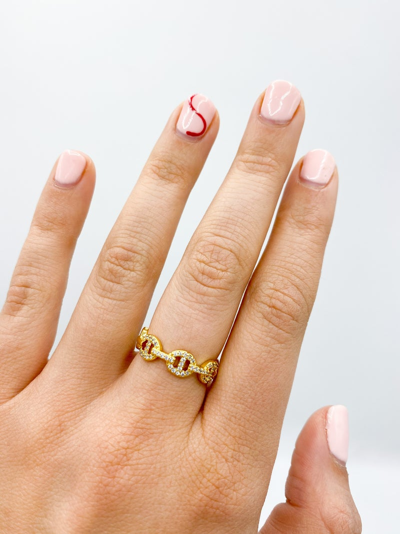 Gold Cubic Zirconia Chain Adjustable Ring *Final Sale*