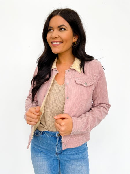 Bubblegum Bliss Sherpa Lined Jacket
