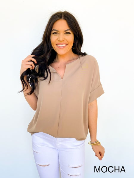The Sam V Neck Blouse - Mocha