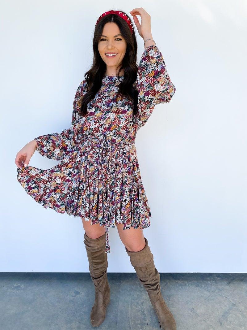 The Lauren Floral Belted Flouncy Dress