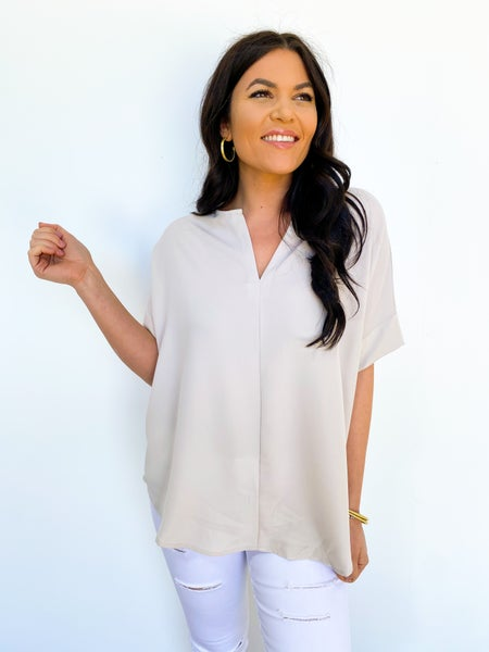 The Sam V Neck Blouse - Bone