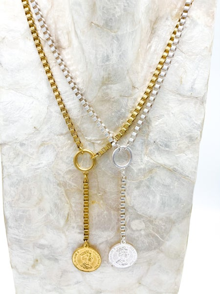 The Baldi Square Box Chain Drop Necklace *Final Sale*