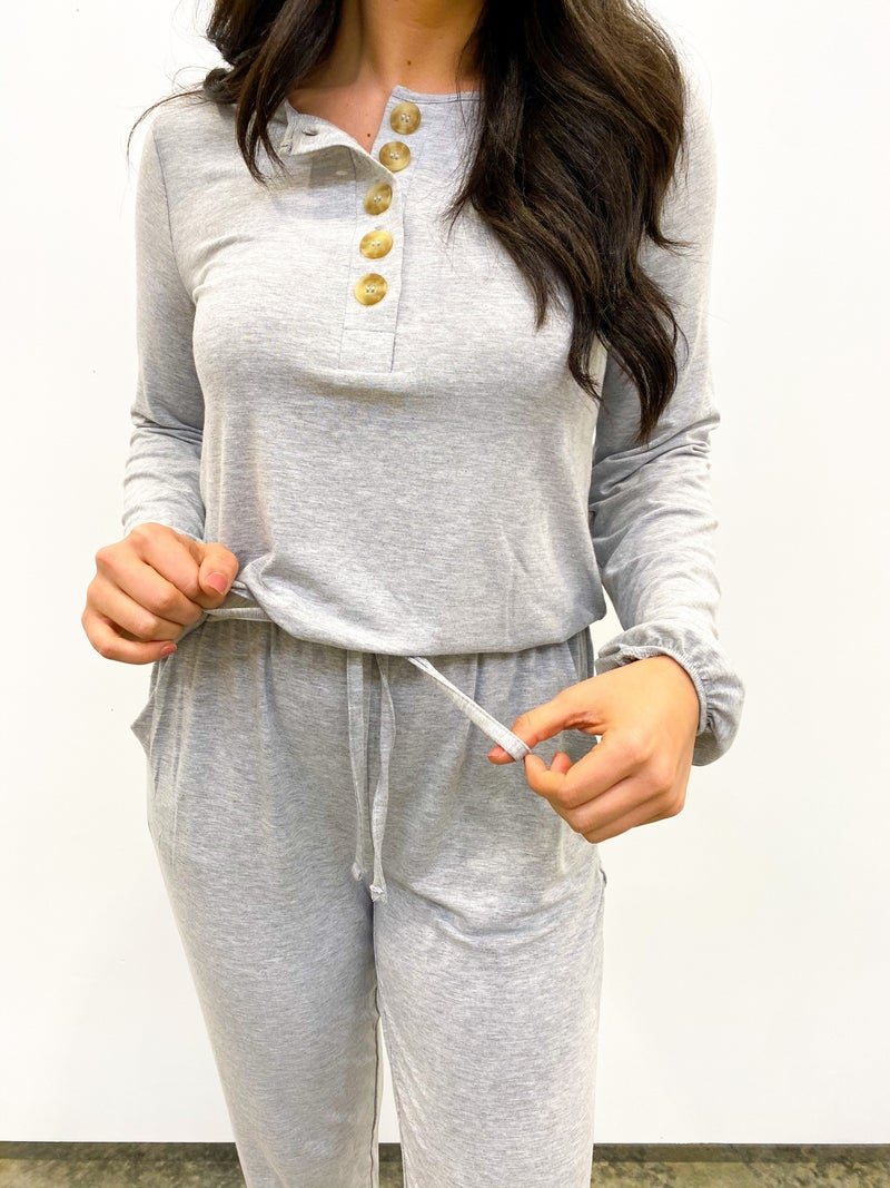 Bags Checked Long Sleeve Jumpsuit - Heather Grey