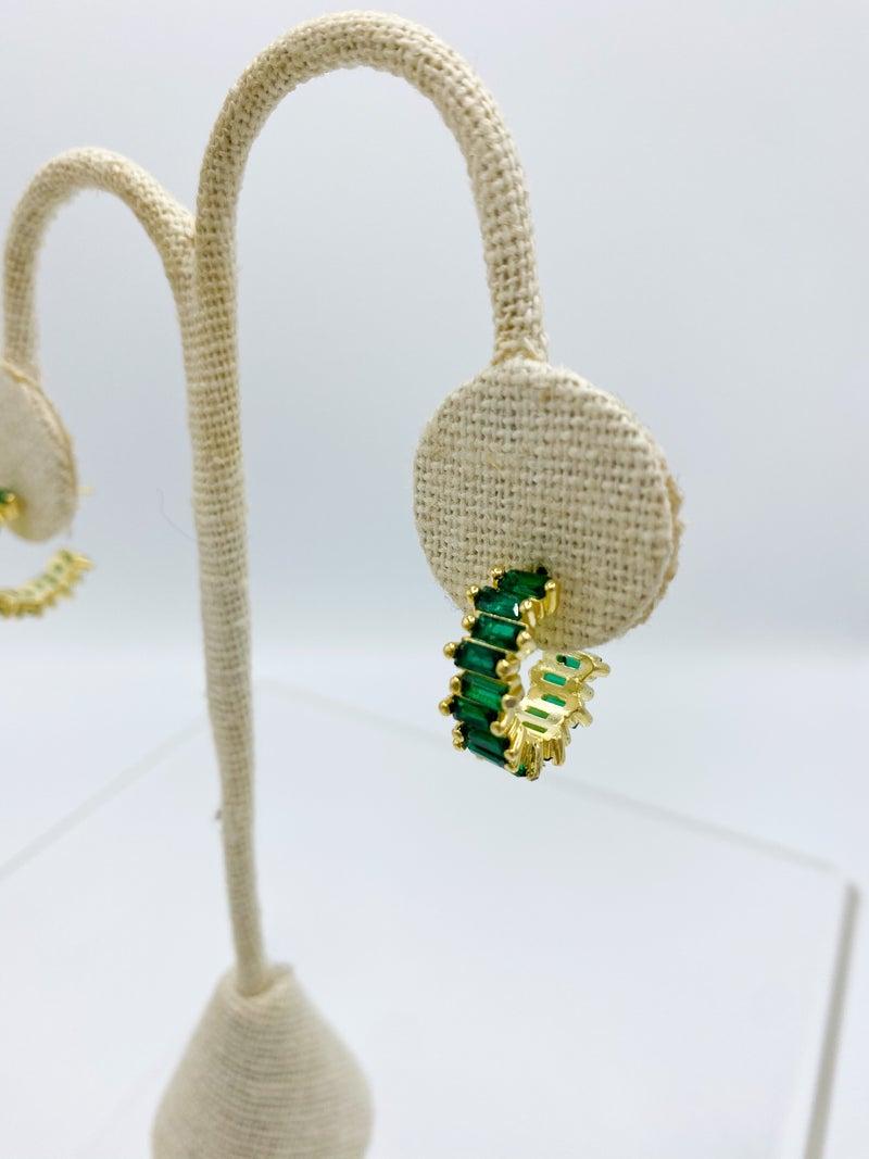 Gold Emerald Green CZ Baguette Earring STERLING SILVER *Final Sale*