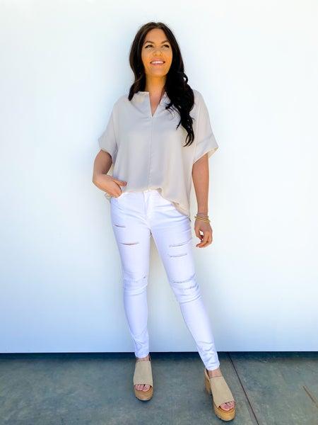 White Distressed Wax Skinny Jean