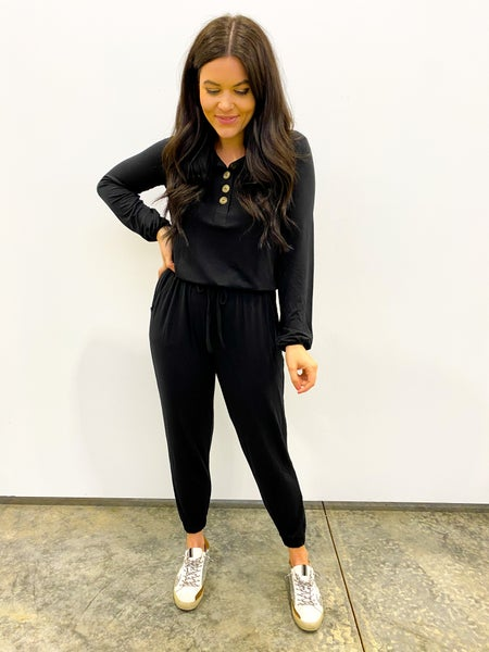 Bags Checked Long Sleeve Jumpsuit - Black