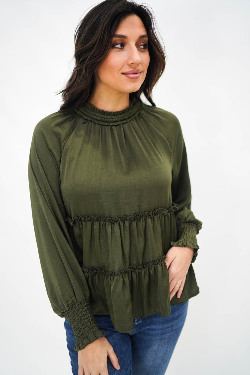 Sweet Nothings Tiered Satin Blouse *Final Sale*