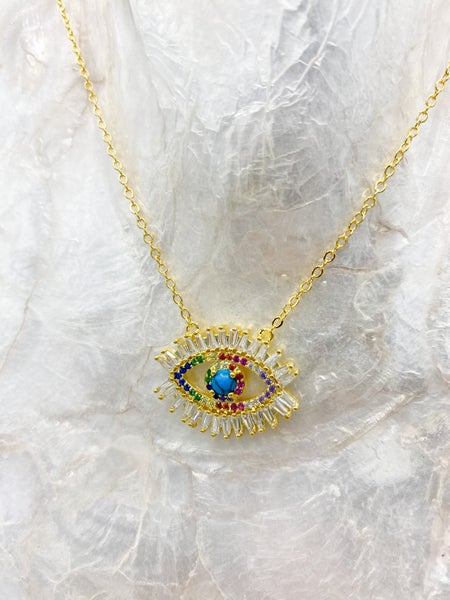 Gold Evil Eye Multi Color CZ Pendant Necklace *Final Sale*