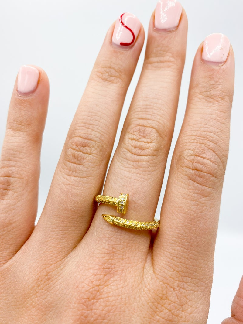 Gold Cubic Zirconia Adjustable Nail Ring *Final Sale*