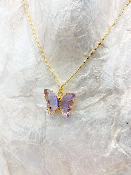 14k Gold Plated Crystal Butterfly Pendant Necklace *Final Sale*