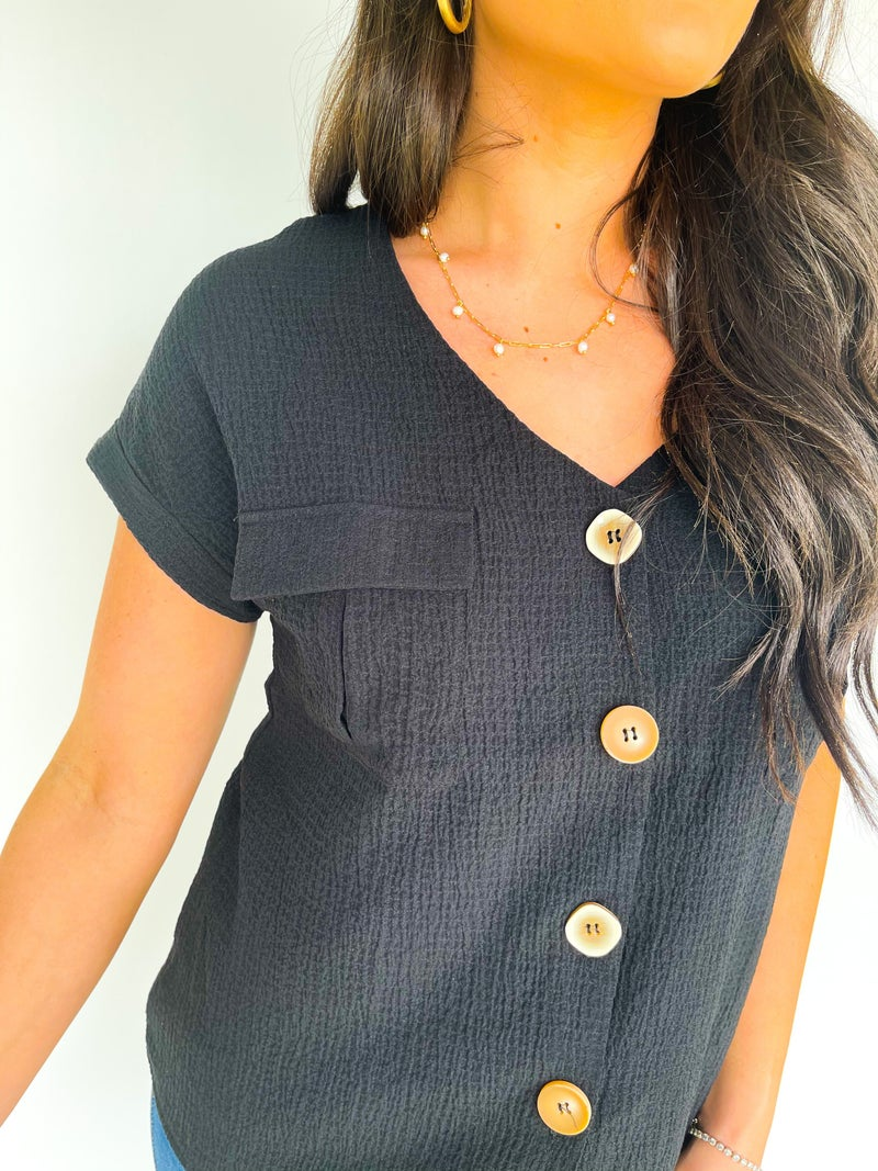 Saturday Style Black Pocket Top W/ Buttons