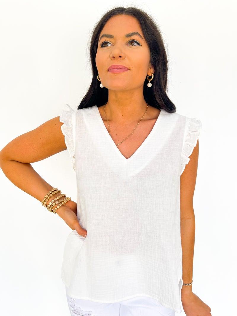 The Rhea Ruffle Top - White