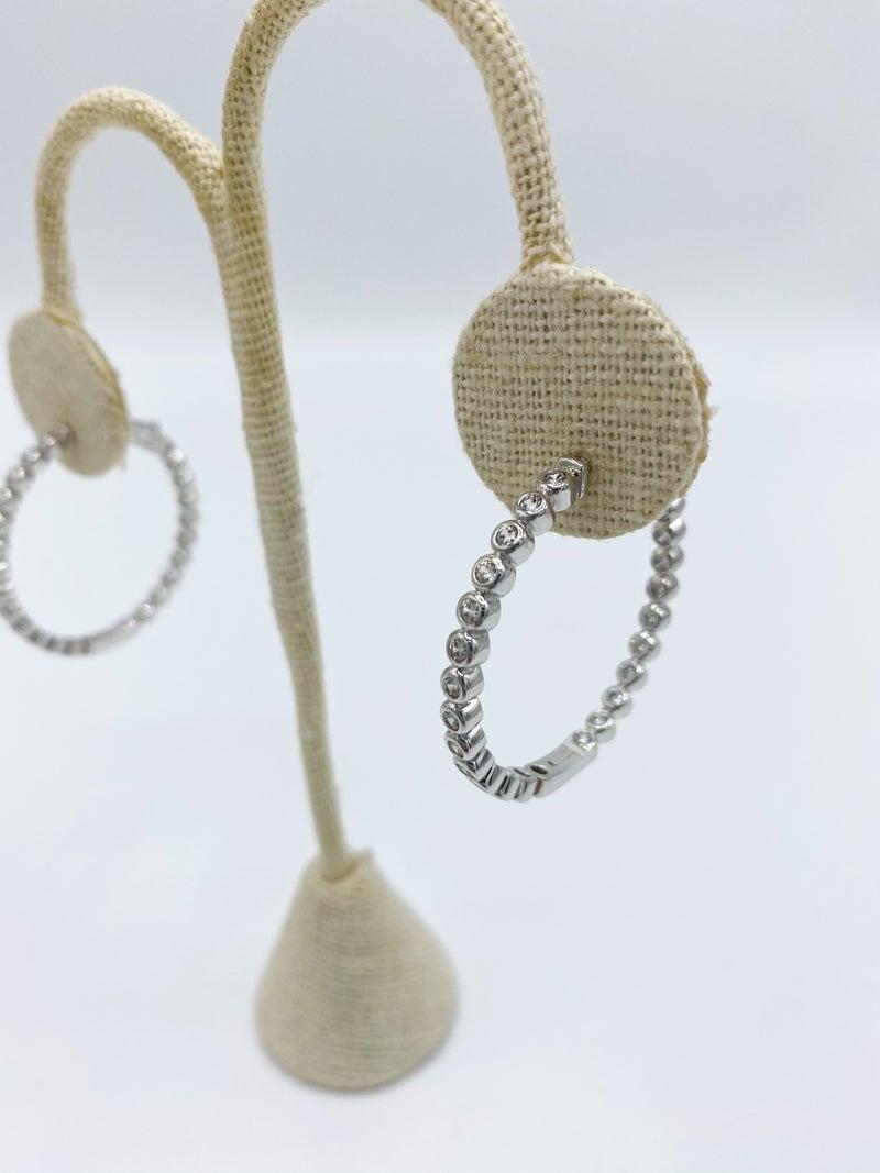 """Gold Round CZ 1.25"""" Elegant Hoop Earrings *Final Sale*"""