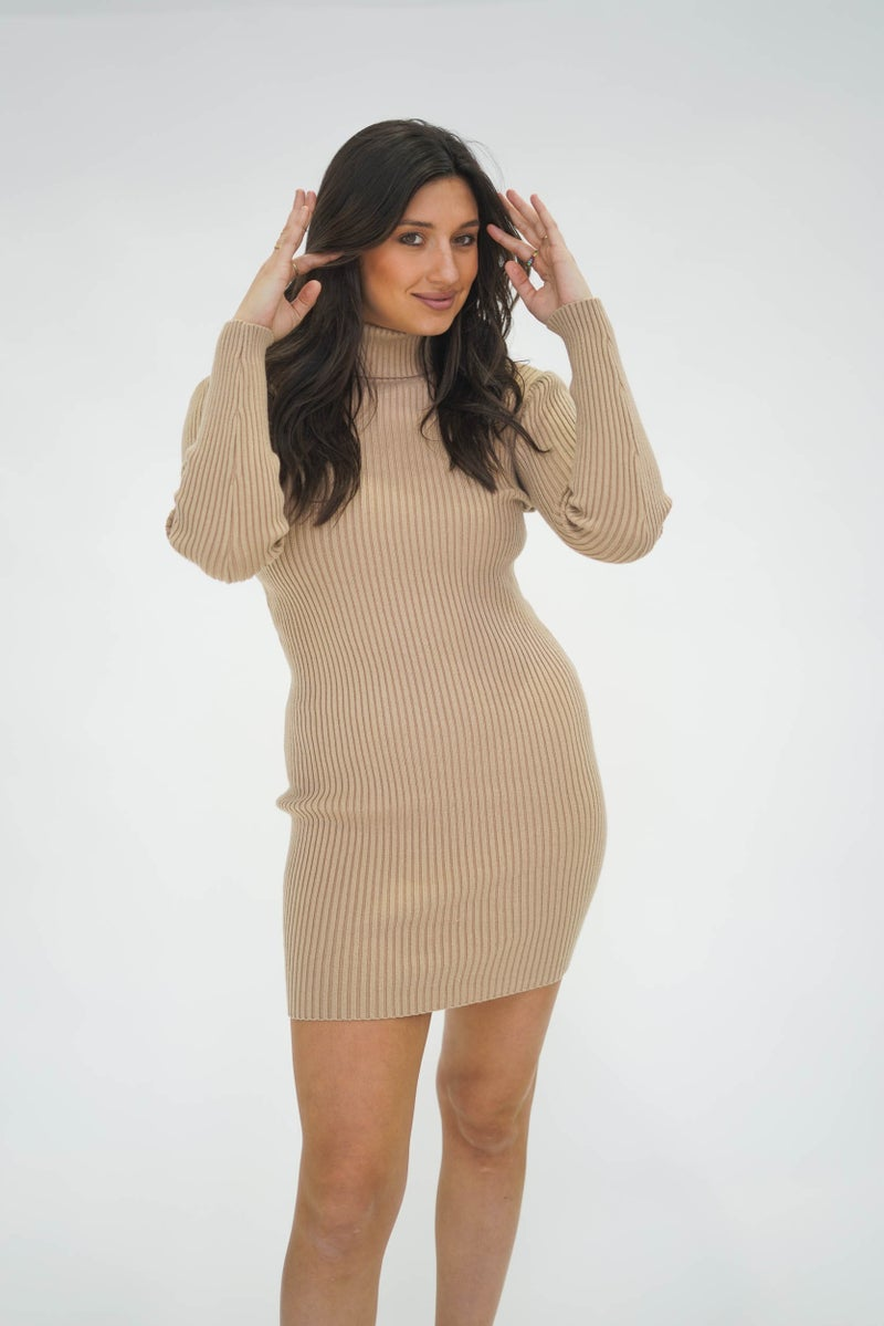 Happy Go Lucky Ribbed Sweater Dress