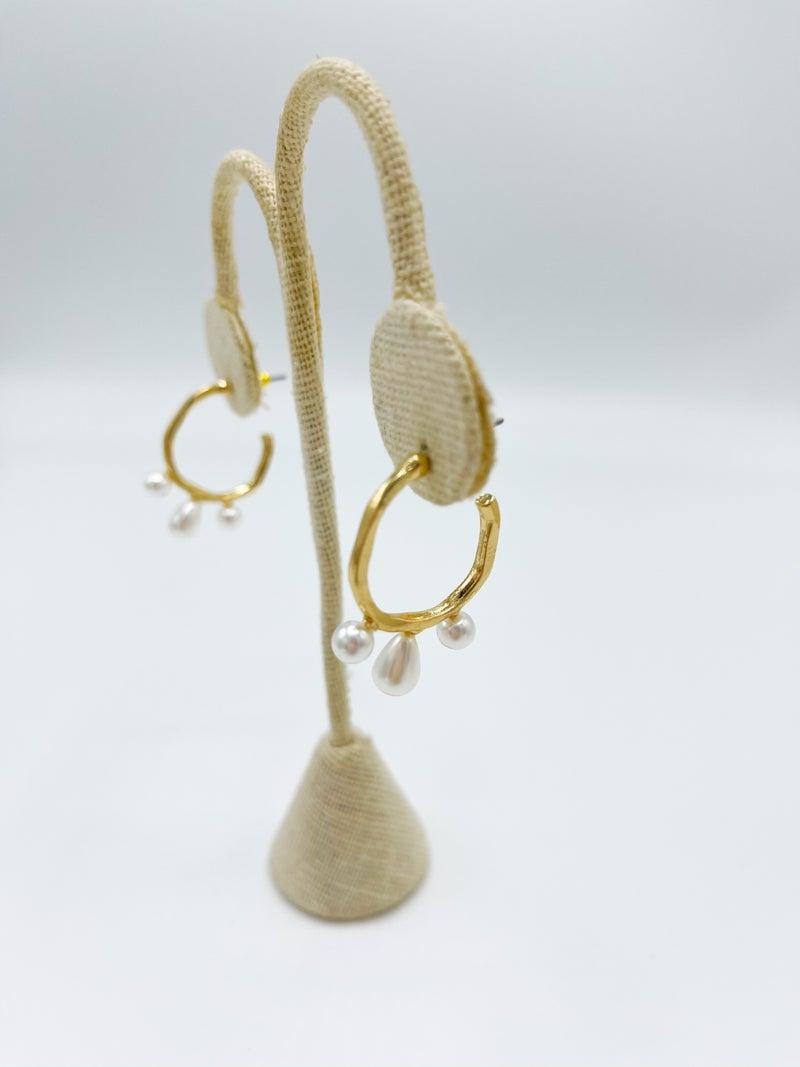 3 Drop Pearl Hammered Hoop Earring