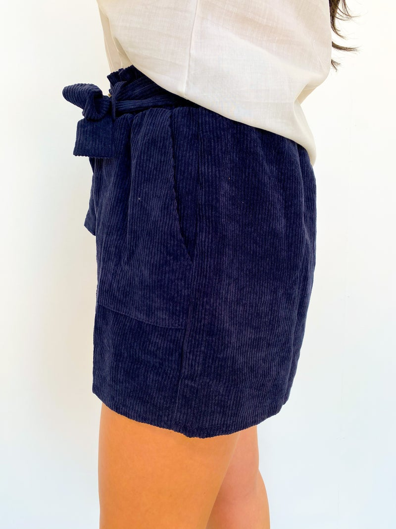 Navy Five Button Front Tie Shorts