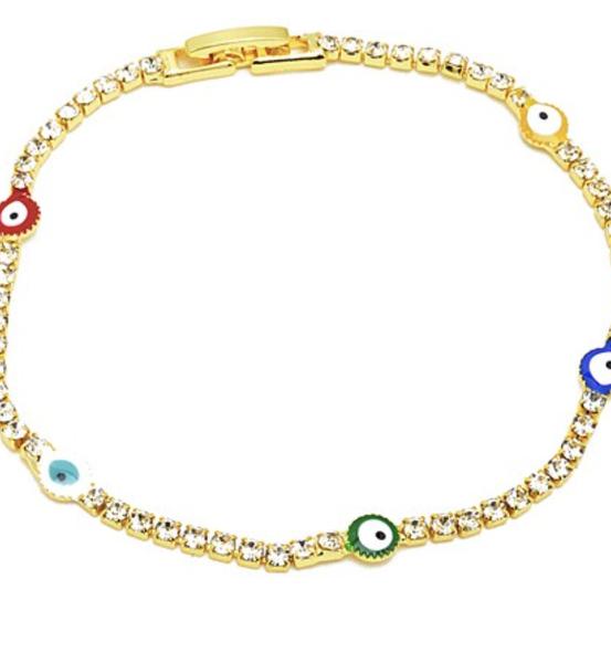 Rainbow Gold Cubic Zirconia  Tennis Bracelet *Final Sale*
