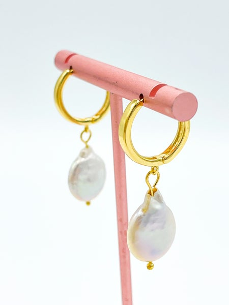 The Loralie Freshwater Dangle Pearl Hoop *Final Sale*