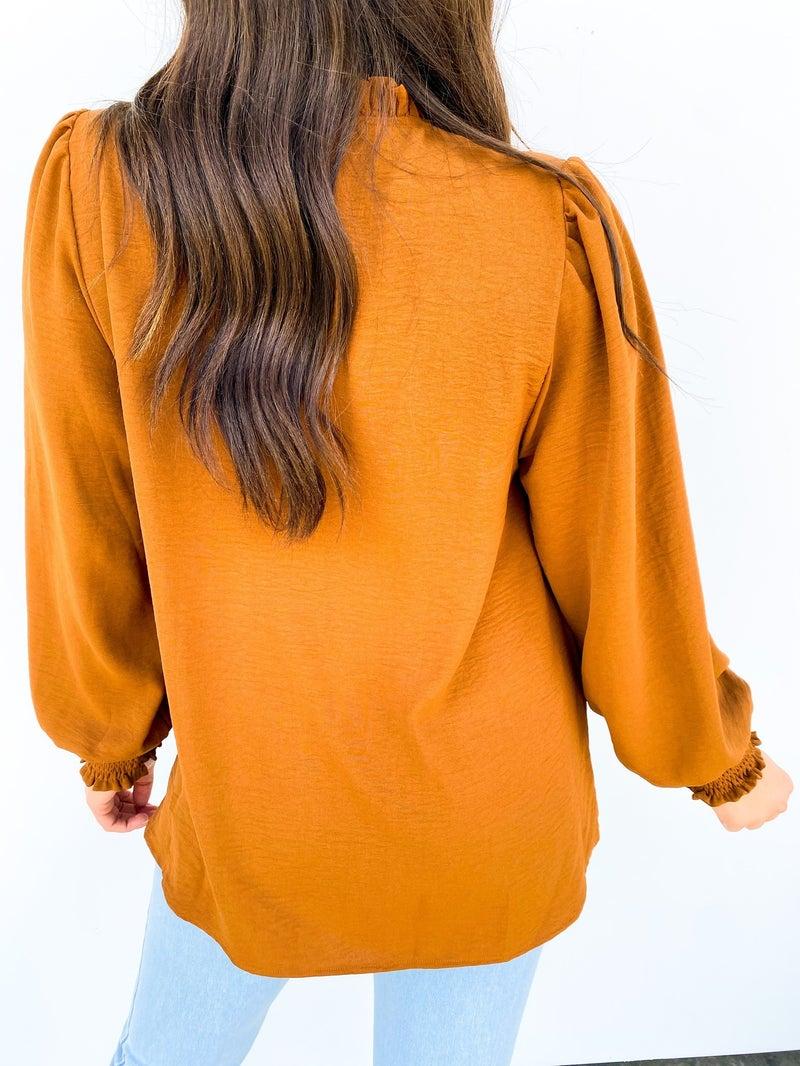 High Neck Smocked Sleeve Blouse