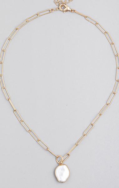 Paperclip Pearl Necklace
