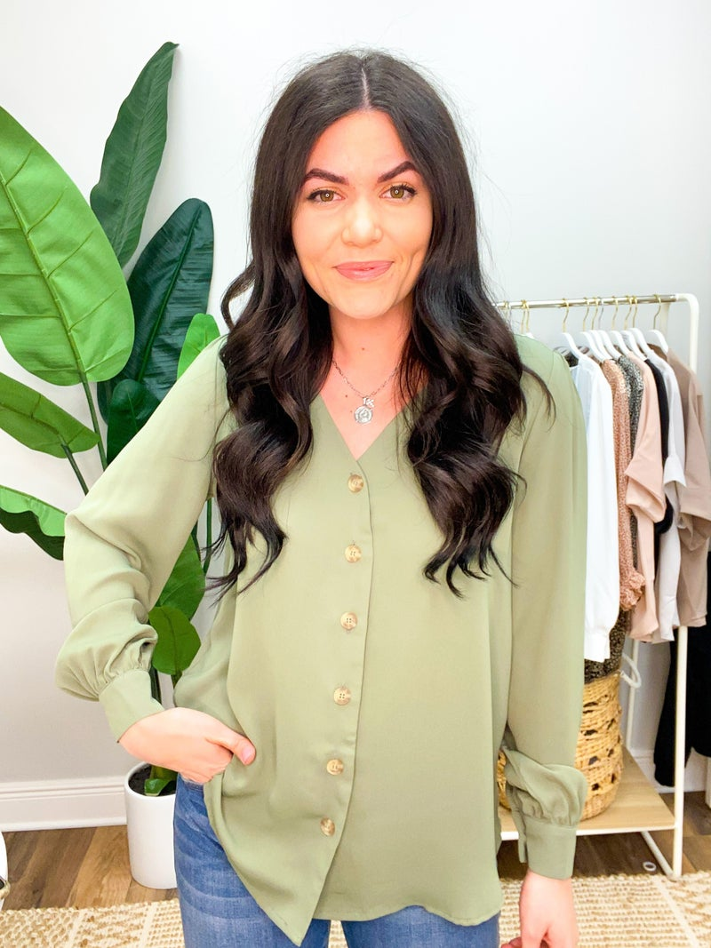She's A Boss Button Down Blouse - Olive