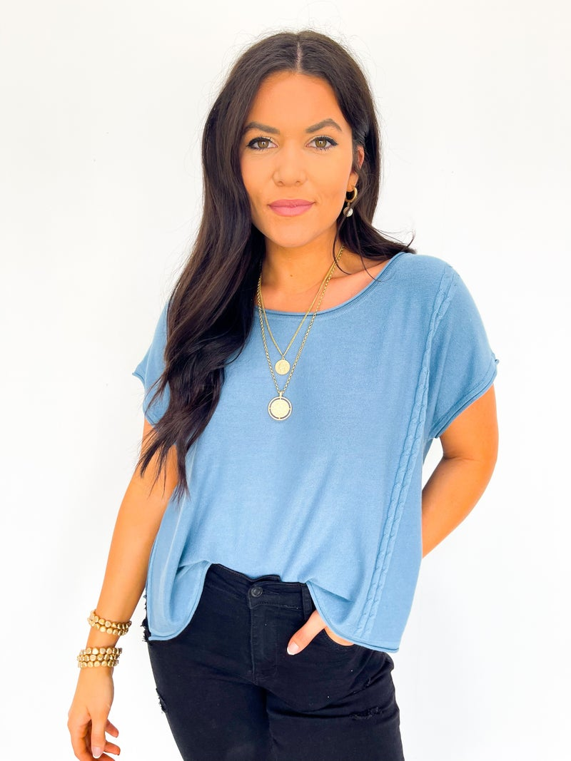 Sweet Spring Day Lightweight Sweater Top - Bright Blue