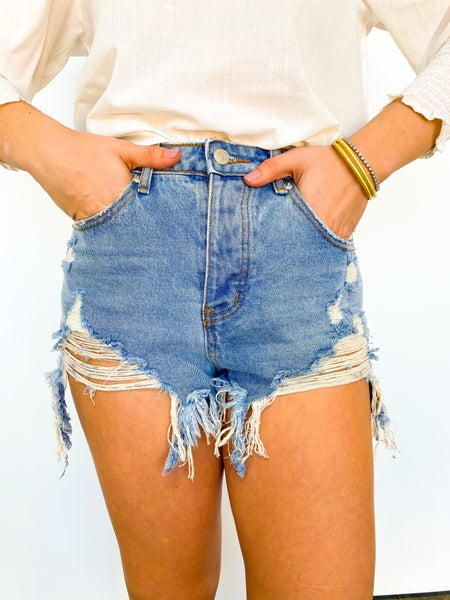 Four Button Distressed Shorts Light