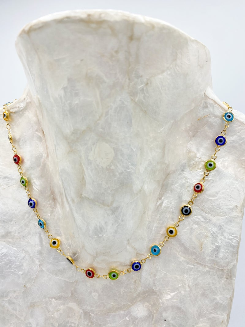 Gold Evil Eye Rainbow Link Chain Necklace *Final Sale*