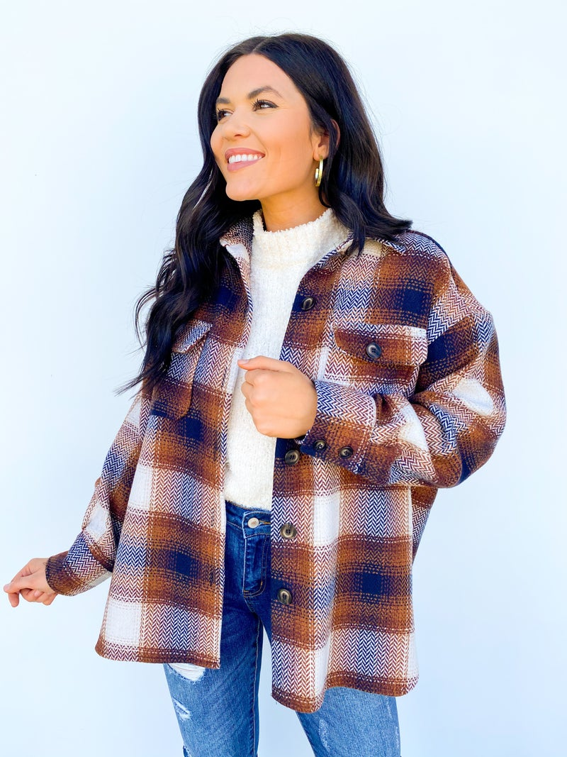 Evermore Brown Flannel Shacket