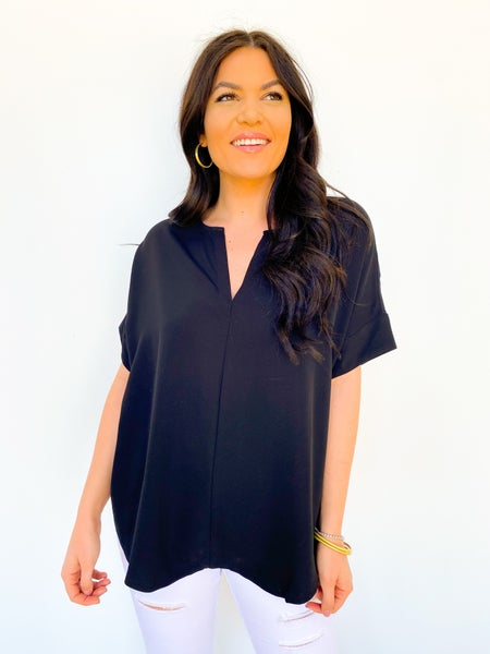 The Sam V Neck Blouse - Black