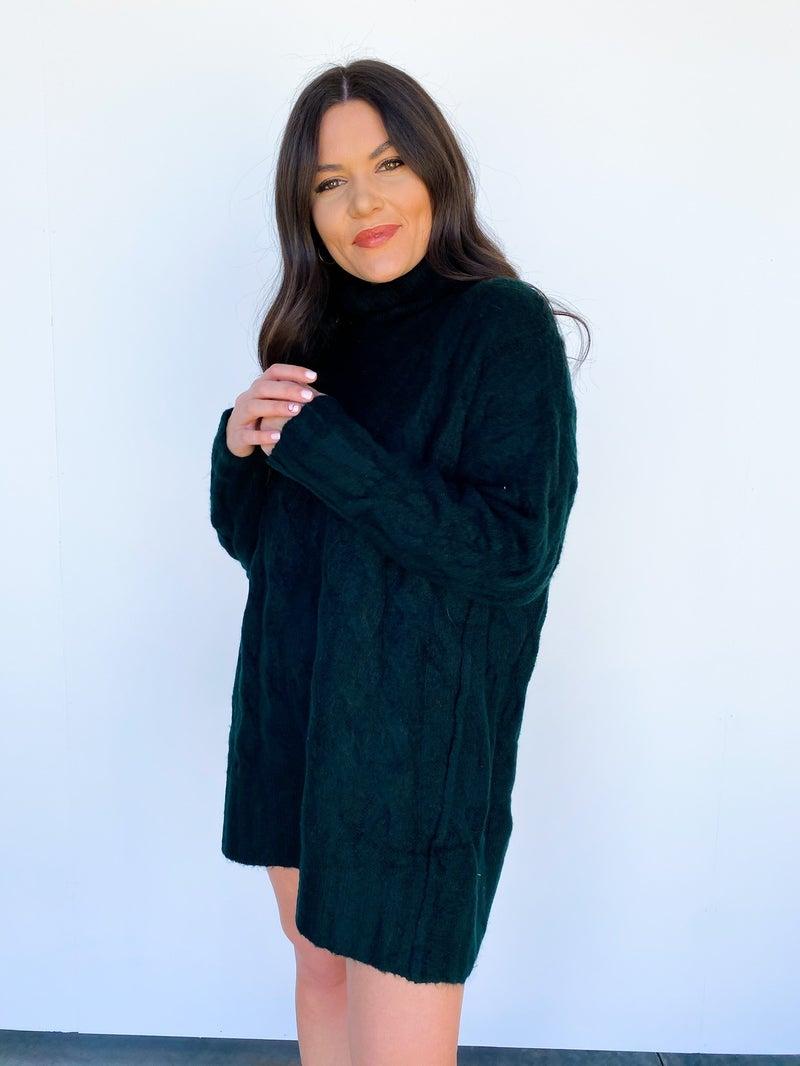 Chunky Knit Turtle Neck Sweater Dress - Hunter Green