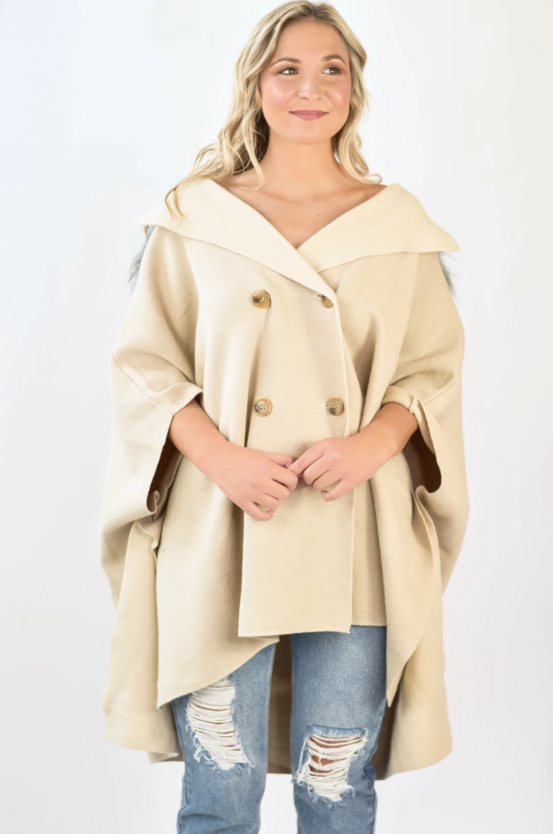 The Pippa Fur Lined Poncho *Final Sale*