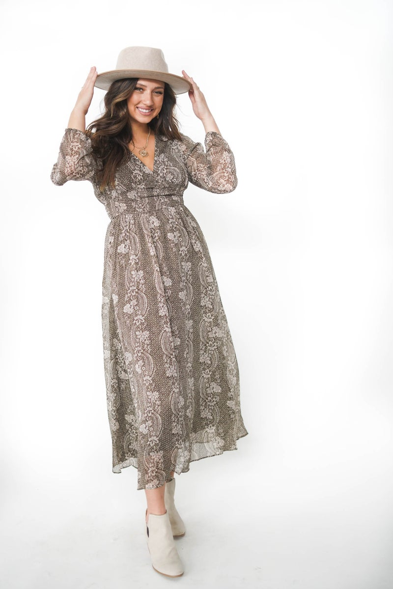 Whispering Meadows Olive Maxi Dress