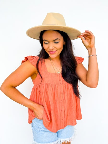 By The Bay Ruffle Top - Clay